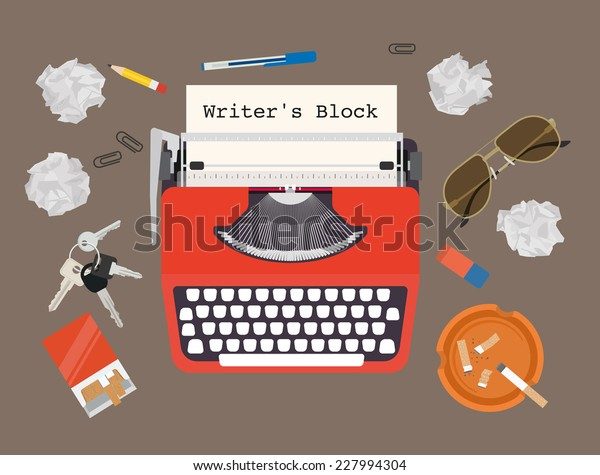 Writers block - vector typewriter set