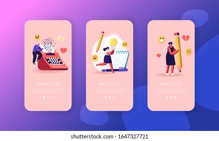 Writers Create Book Mobile App Page Onboard Screen Set. People Enjoying Writing Hobby, Typing on Typewriter, Put Ideas in Notebook Concept for Website or Web Page. Cartoon Flat Vector Illustration