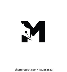 writers m font logo flat vector template