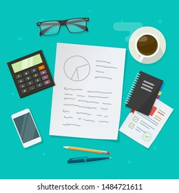 Writing analysis content vector illustration, flat cartoon working table or desk top view with paper sheet text, auditing workplace or creating business strategy, idea of study  or learning education