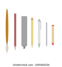 Writing and art implements.  Includes paintbrush, colored pencil (purple), thick permanent marker, #2 pencil, pen, stylus, and crayon (red).  Transparent background in vector file.