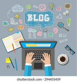 Writing an article for blog on computer. Flat illustration
