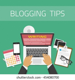 Writing an article or mesage for blog on computer concept. Vector illustration of writing a blog, blogging. Copywriting or typing text. Flat design modern vector illustration concept.
