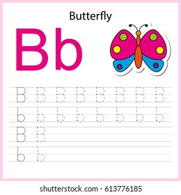 Writing A-Z, alphabet, exercises game for kids. Writing letter B