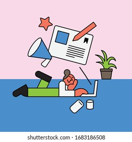 Writing and blogging concept illustration.Young woman writing on laptop at home. Vector flat style illustration. Character design.