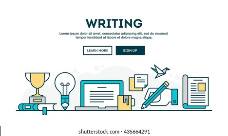 Writing, colorful concept header, flat design thin line style, vector illustration