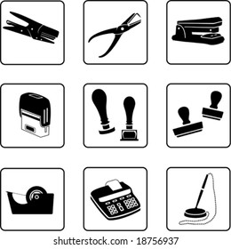 writing desk objects silhouettes (also available in raster format)