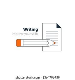 Writing education concept icon. Creative story tellig. Flat design vector illustration