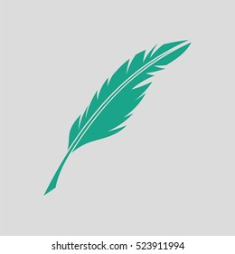 Writing feather icon. Gray background with green. Vector illustration.