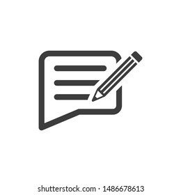 Writing feedback icon. vector graphics