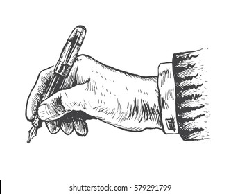 Writing hand with fountain pen on white background. Vector handdrawn lineart sketch illustration, gravure style