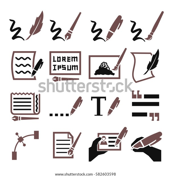 writing icon set
