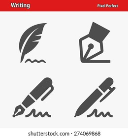 Writing Icons. Professional, pixel perfect icons optimized for both large and small resolutions. EPS 8 format.