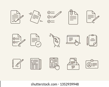 Writing icons Simple icons collection on white background. Notes, laptop, newsletter, notepad. Document concept. Vector illustration can be used for topics like copywriting, documentation, journalism