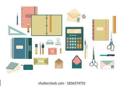 Writing materials,envelopes,stamps,fountain pen.Stationery set for letters in flat style.Different size diary,open and closed notebook,exercise book,scratchpad.Vector Student and Accounting tools.