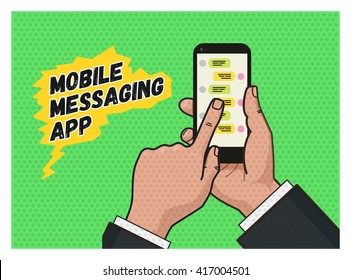 writing a message on mobile app. Hand touching a mobile phone against green background. Pop art illustration in vector flat format. Old style of a texture. Mobile messaging app