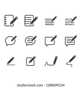 Writing a Note Icons - Gray Series Set
