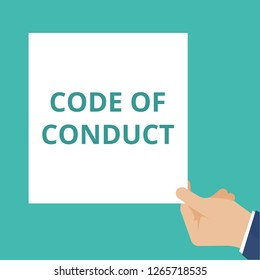 Writing note showing Code Of Conduct. Vector illustration