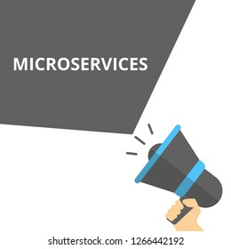 Writing note showing Microservices. Vector illustration