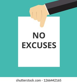 Writing note showing No Excuses. Vector illustration