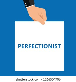 Writing note showing Perfectionist. Vector illustration