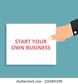 Writing note showing Start Your Own Business. Vector illustration