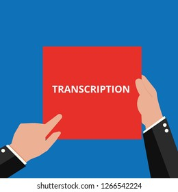 Writing note showing Transcription. Vector illustration