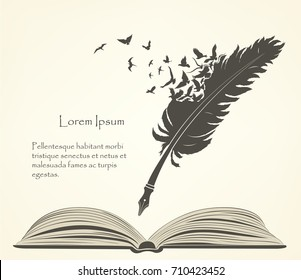 writing old feather with flying birds and open book