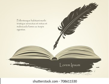 writing old pen feather with open book