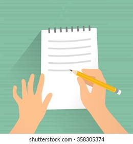 Writing on paper. Hand signing writing on paper, vector illustration.