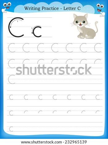 writing practice letter c printable worksheet のベクター画像素材