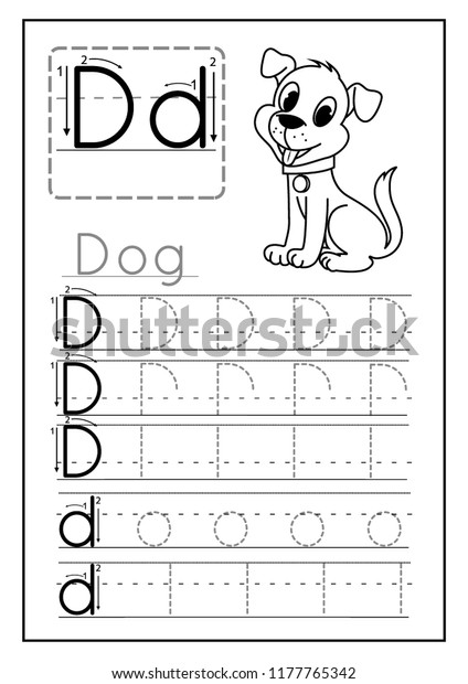 photo relating to Letter D Printable named Creating Teach Letter D Printable Worksheet Inventory Vector