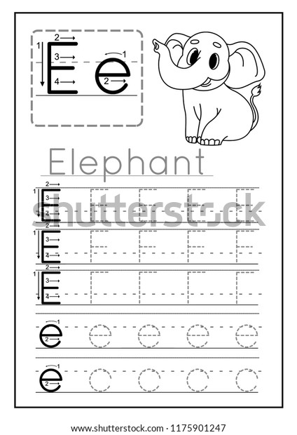 photo about Letter E Printable called Composing Educate Letter E Printable Worksheet Inventory Vector