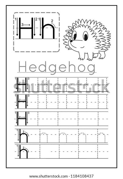 picture regarding Letter H Printable known as Composing Educate Letter H Printable Worksheet Inventory Vector