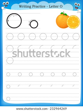 Writing Practice Letter O Printable Worksheet Stock Vector Royalty