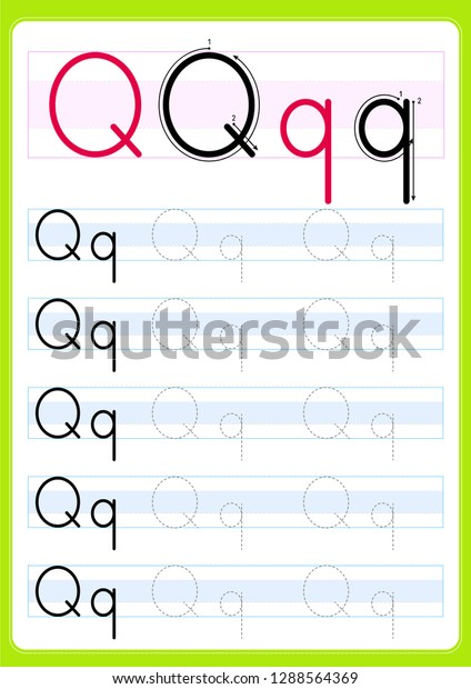 Writing Practice Letter Qq Printable Worksheet Stock Vector