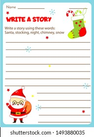 Writing prompt for kids blank. Educational children page. Develop fantasy and writing stories skills. Christmas and New year holidays theme