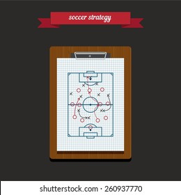 Writing a soccer game strategy on a blackboard. Flat style design - vector.