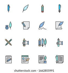 Writing tool filled outline icons set, line vector symbol collection, linear colorful pictogram pack. Signs, logo illustration, Set includes icons as document edit, paper, pencil, feather pen, ink pen