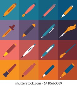 Writing Tools, set of 16 Quality icons remastered