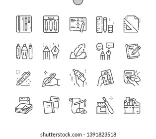 Writing tools Well-crafted Pixel Perfect Vector Thin Line Icons 30 2x Grid for Web Graphics and Apps. Simple Minimal Pictogram
