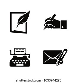 Writing and Typewriting. Simple Related Vector Icons Set for Video, Mobile Apps, Web Sites, Print Projects and Your Design. Black Flat Illustration on White Background.