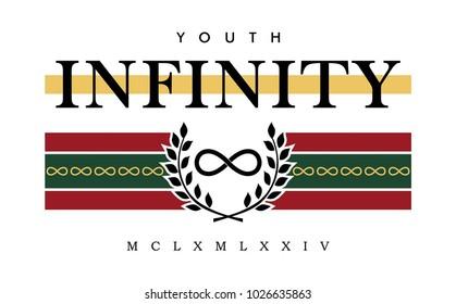 ?nfinity writing typography, tee shirt graphics, slogan, vector