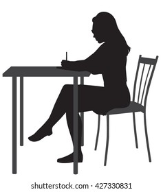 Writing woman's vector silhouette