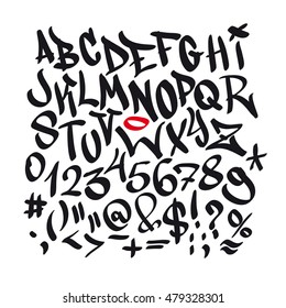 Written graffiti font alphabet. Vector
