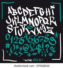 Written graffiti font alphabet. Vector set on black