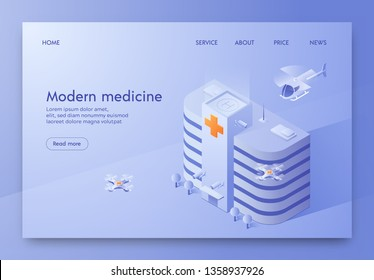 Written Modern Medicine Illustration Isometric. Modern High-rise Hospital Building Withlanding Pad for Landing an Ambulance Helicopter. Model City with Public Medical Facility, Drones Fly.