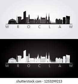 Wroclaw skyline and landmarks silhouette, black and white design, vector illustration.