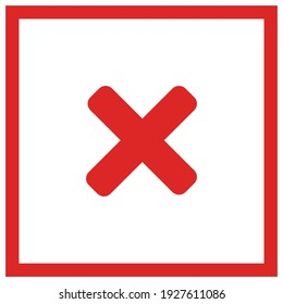 Wrong marks, Cross marks, Rejected, Disapproved, No, False, Not Ok, Wrong Choices, Task Completion, Voting. - vector mark symbols in red. Isolated icon.