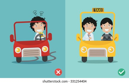 wrong and right for don't drink and drive . vector illustration.